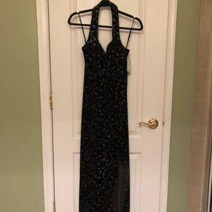Full Length Velvet Gown Navy W/ silver embroidery